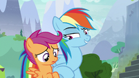 Rainbow nudges Scootaloo with her elbow S8E20