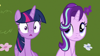 Twilight and Starlight hear brunch ponies talk about Rarity S7E14