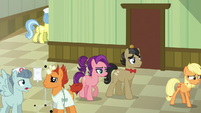 Applejack leads Filthy and Spoiled to Granny's room S6E23