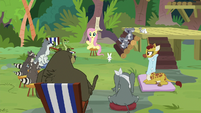 Fluttershy addressing the entire support group S9E18