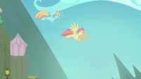 Hippogriffs flying in the sky together S8E6