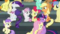 Main ponies windswept by the Wonderbolts S6E7