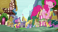 Pinkie Changeling hopping through town S6E25