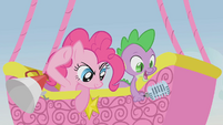 Pinkie Pie and Spike observing the racers S1E13