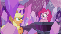 Pinkie Pie pops out of a mine cart S5E20
