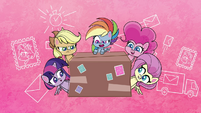 Ponies gathered around Rainbow's package PLS1E3a