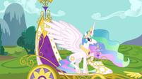 Princess Celestia in royal carriage S03E10