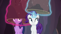 Twilight and Rarity put their disguises back on S6E5