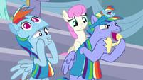 Bow Hothoof cheering for Rainbow Dash S7E7