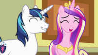 Cadance and Shining Armor laughing together S7E3