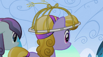 Crystal Pony wearing hat crafted by Rarity S3E02