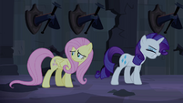Fluttershy scared and Rarity frustrated S4E03