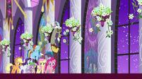 Main cast and Discord in castle hallway S9E17