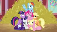 Pinkie Pie's friends cowering around her BGES2