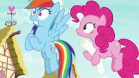 Pinkie Pie hops up behind Rainbow Dash S8E20
