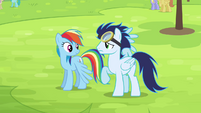 Rainbow and Soarin on the ground S4E10