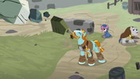 Rockhoof hurling boulders at the Sirens S7E26