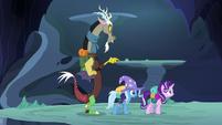 Starlight, Trixie, and Discord hear Thorax ahead S6E25