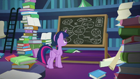 Twilight Sparkle looking at her chalkboard S7E25