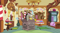 Discord pokes out of the cardboard box S5E7