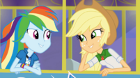 Rainbow Dash and Applejack riding the tour bus SS13