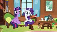 Twilight, Rarity, and animals listen to Fluttershy S7E5