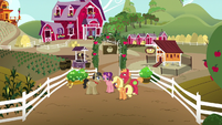 AJ, Big Mac, Filthy, and Spoiled just outside Sweet Apple Acres S6E23