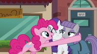 Pinkie Pie hugs Maud and Rarity S6E3