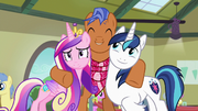 Spearhead hugging Cadance and Shining Armor S7E3.png
