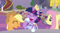 Applejack, Twilight, and Fluttershy laughing S9E26