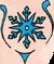 Deep blue snowflake between blue laces