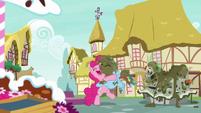 Pinkie Pie and Rainbow Dash sharing a hug S7E23