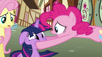 Pinkie Pie holding Twilight's face S3E07