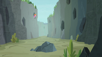 Pinkie Pie on far left side of Ghastly Gorge S8E3