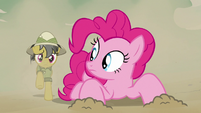 Pinkie sees Daring Do coming from behind S7E18