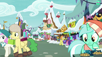 Ponies walking about the marketplace MLPBGE