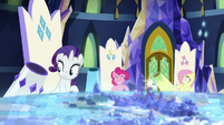 Rarity and Fluttershy with their own party cannons S8E2
