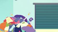 Rarity screams into a pile of clothes EGROF