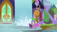 Spike hears Derpy flying close by S9E5