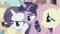 Twilight, Rarity, and AJ angry while Fluttershy is worried S5E02