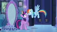 "Twilight and Rainbow Dash ""you're back!"" EG"