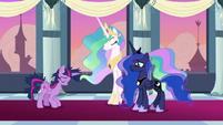 Twilight bowing to Celestia and Luna S9E26