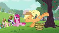 Applejack helps Pinkie Pie buck apples S03E13