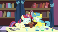 Filly Moon Dancer and Lemon Hearts in chemistry class S7E1