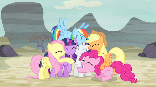 Mane Six group hug again S5E02.png