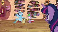 Owlowiscious and Spike notices Twilight looking at them S4E21