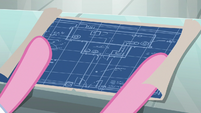 Pinkie Pie unrolls factory blueprints S9E14