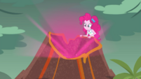 Pinkie creating an explosion in the volcano EGDS1