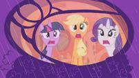 Rarity, Twilight, and Applejack afraid of the rain S1E8