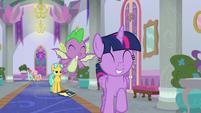 Twilight and Spike race through the hall S9E4